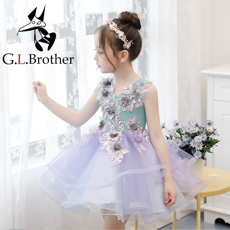 Luxury Girls Ball Gown Dress Princess Birthday Wedding Clothing Banquet Vestidos Emboridery Girls Dress V-neck Floral Gowns S185