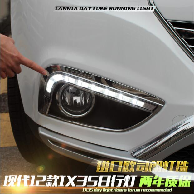 ФОТО Hireno Super-bright LED Daytime Running Light for Hyundai IX35 2010-13 LED Car DRL fog lamp 2PCS