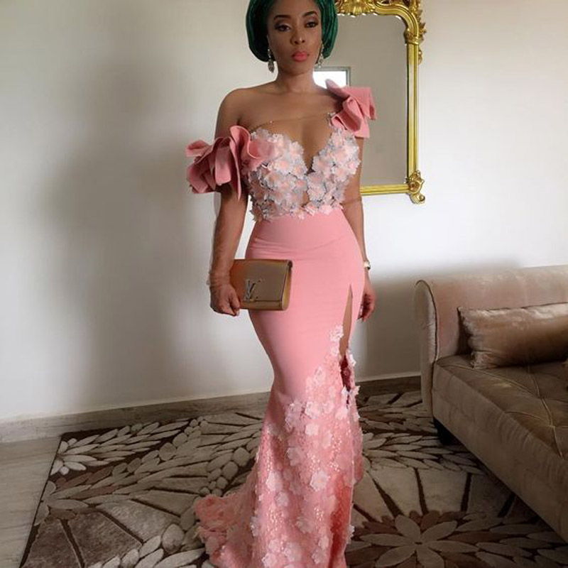Pretty 3D Flower Aso Ebi Long Gonna   Prom   Gowns Long Mermaid African   Prom     Dresses   Lace Sheer Long Sleeves Split Vestido Longo