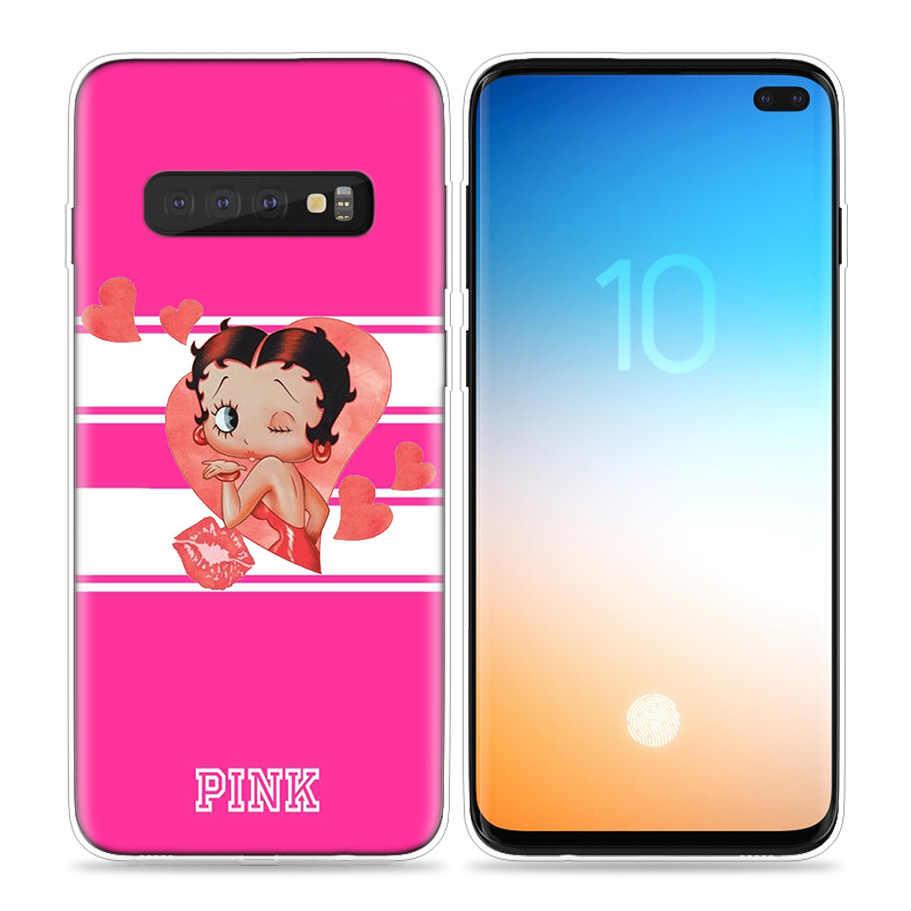 สีชมพูเซ็กซี่ Betty Boop สำหรับ Samsung Galaxy S10 S20 Ultra 5G S10e S8 S9 PLUS S7 หมายเหตุ 8 9 10 Lite ซิลิโคนโทรศัพท์กระเป๋า cubre