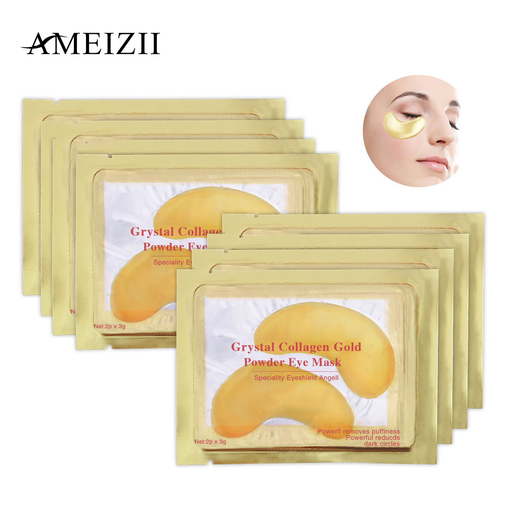 AMEIZII Natural Crystal Collagen Golden Eye Mask Anti-Aging Face Care Sleeping Eye Patches Eliminates Dark Circles Fine Lines