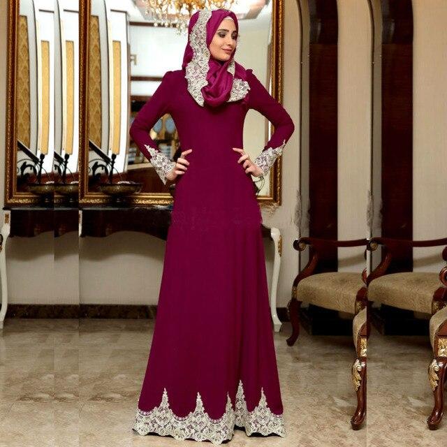 2017 Manches Longues Fuchsia Blanc Dentelle Appliques Robes de Soirée Hijab  Arabe Robe De Soirée Parti