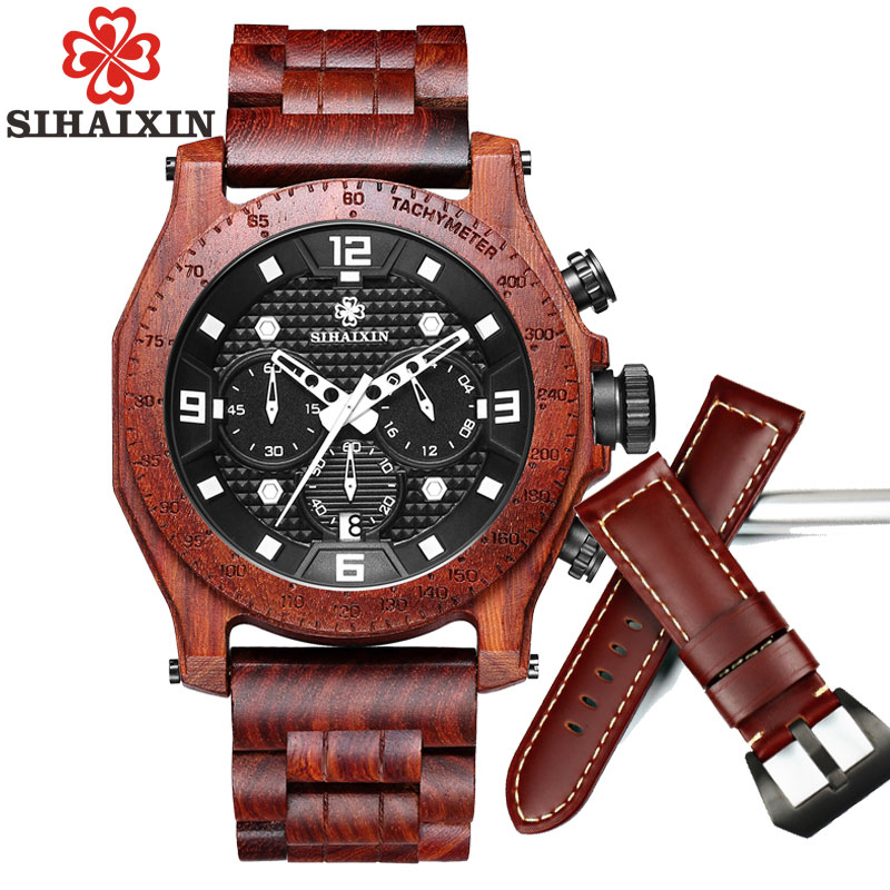 SIHAIXIN Wood Watches Men Business Luxury Stop Watch with Stainless Steel Case Wooden Chronograph Military Quartz Red Wristwatch