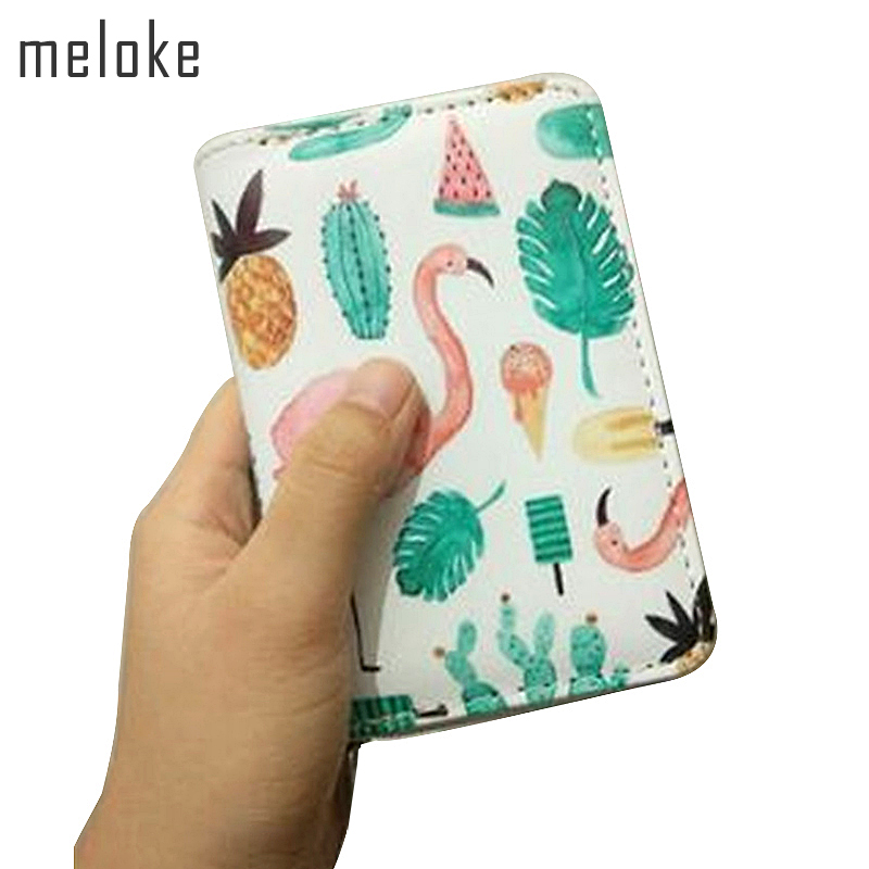 Meloke Zipper Wallet For Women wide size Wallet PU Prints Flamingos small Purses Cartoon Coin Pocket Credit Card Holder MN638 mymei useful pocket credit card size timer kitchen cooking countdown study rest