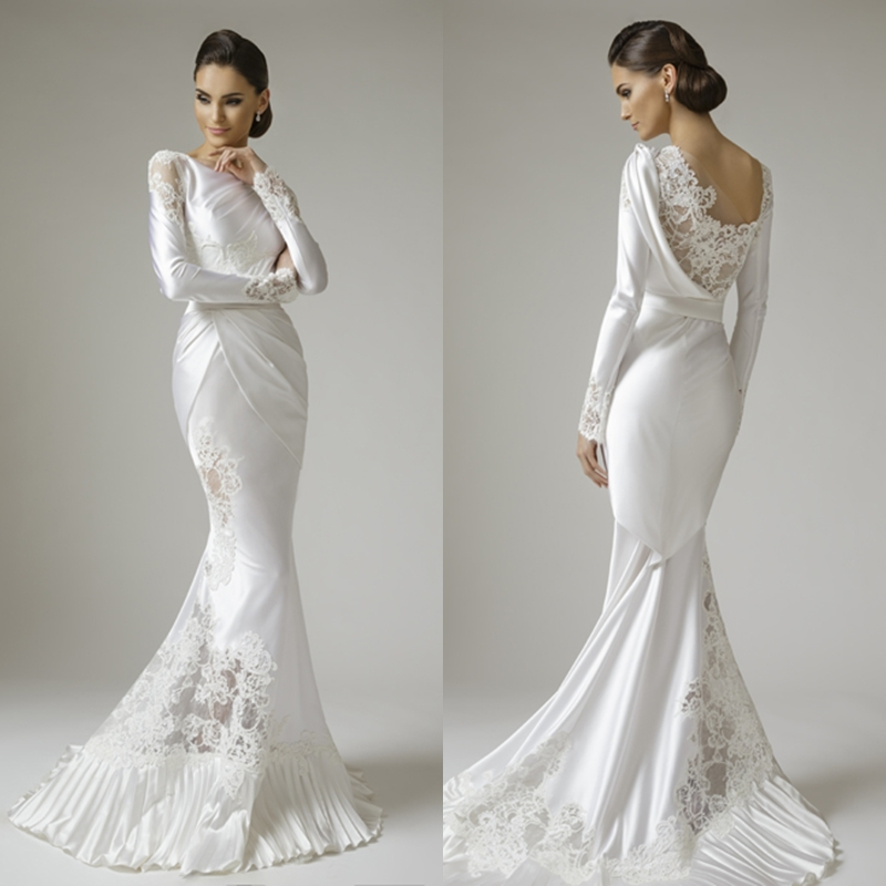 Mermaid long sleeves appliques white satin lace wedding for Beautiful fitted wedding dresses