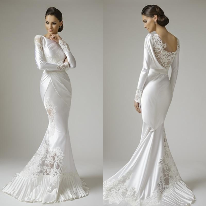 Mermaid Long Sleeves Appliques White Satin Lace Wedding