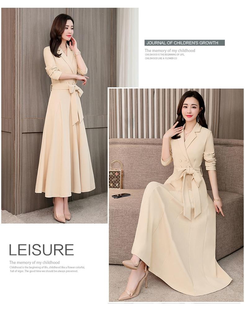 Spring and Autumn 2019 New Women's Dresses Korean Edition Long Sleeve Dresses Overlap Long Popular Temperament with Bottom 143