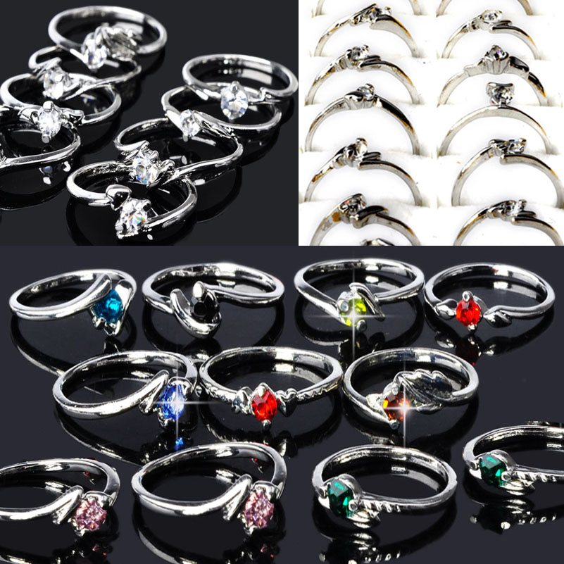 100Pcs Wholesale Lots Fashion Jewelry Crystal CZ Rhinestone Silver Plate Rings For Women Party Wedding Ring Free Ship