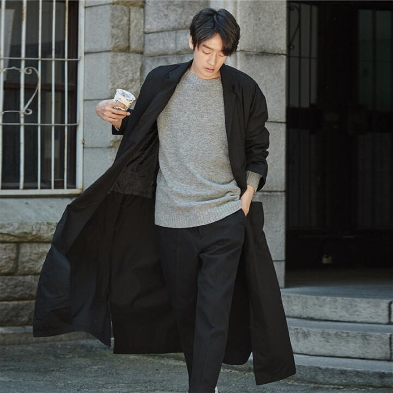 Baggy Male   Trench   Coat Casual Windproof Long   Trench   Coat Men Autumn New Fashion Lightweight Quality Clothing Plus Size 3XL A5586