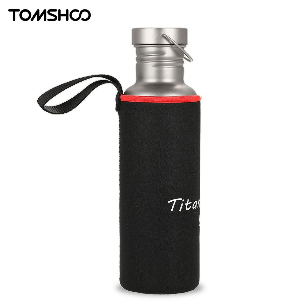 цена на TOMSHOO 750ml Outdoor Camping Hiking Cycling Water Bottle Water bags Bottle Full Titanium with Extra Plastic Lid Ultralight