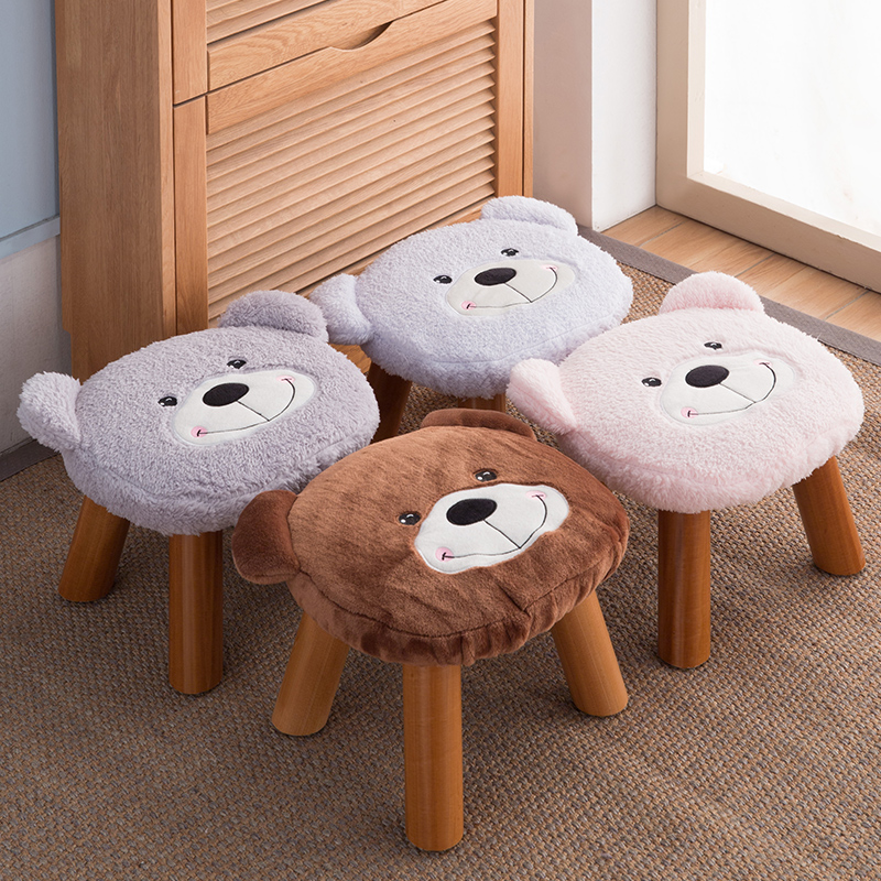 Solid wood Cartoon Stool Cloth Dwarf Pier Coffee Table Stool Household Heightening Sofa Shoe Bench Stool creative stool solid wood fabric sofa coffee table stool home bench fashion wear shoe stool simple stool