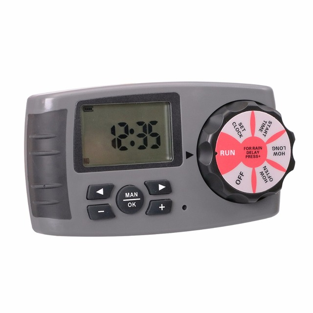 Aqualin Automatic 4-Zone Irrigation System Watering Timer Garden Water Timer Controller with 2 Solenoid Valve #10204A