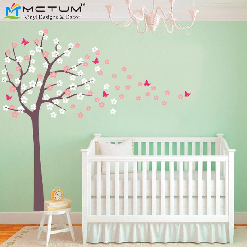 Plus SizeTree Blowing Cherry Blossom Wall Decal Nursery Tree Flowers Butterfly Art Baby Kids Room Sticker Nature Decor - Mctum Vinyl Designs & store