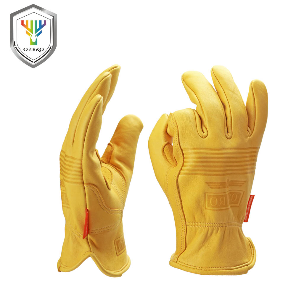OZERO New Men's Work Gloves Goat Leather Security Protection Safety Cutting Working Repairman Garage Racing Gloves For Men 0009