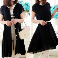 The new spring and summer 2015 Han edition women's short sleeve chiffon dress code show thin loose button