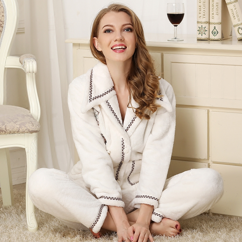 Women Pajama Sets 2019Autumn winter Flannel White Thick Warm Pyjamas Women Coral FleeceHomewear Pocket  Sleepwear  female pajama