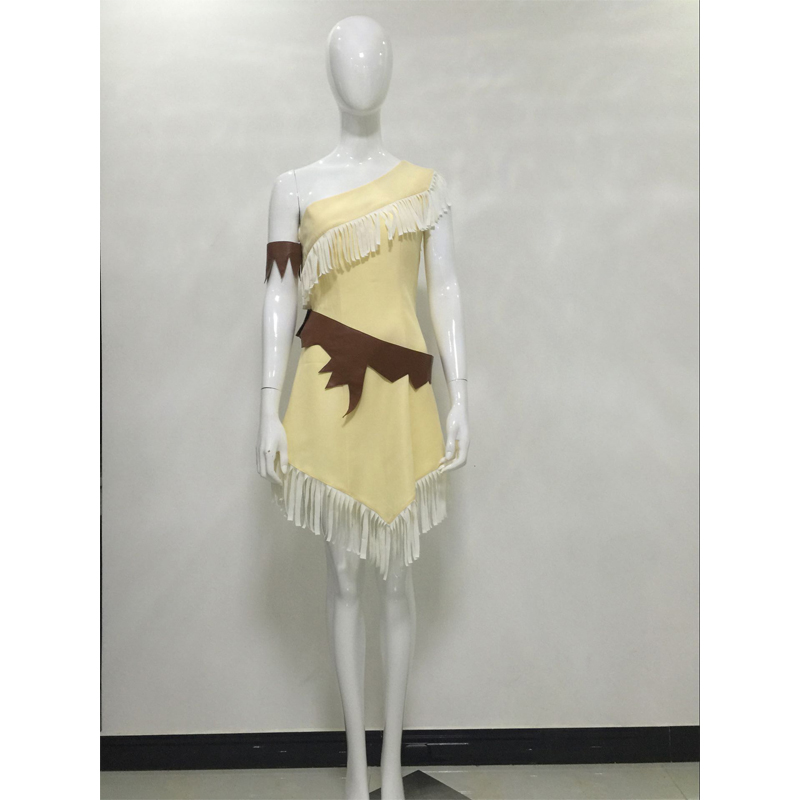 Pocahontas Princess Dress Cosplay Costume Women's Halloween Carnival Party Movie Dress Costume