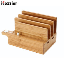 iCozzier 4-Slot Bamboo Watch Stand Removable Multi-device Charging Station and Cord Dock for i Watch, MacBook Air ,Tablets