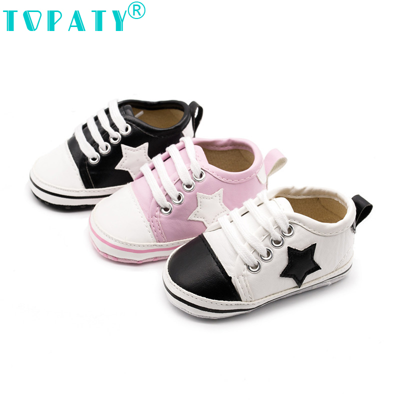 2018 Newborn baby mocassins Baby Girls boys Toddler Shoes Soft Leather Active All Star Lace-Up Sneakers babyschuhe schoentjes ...