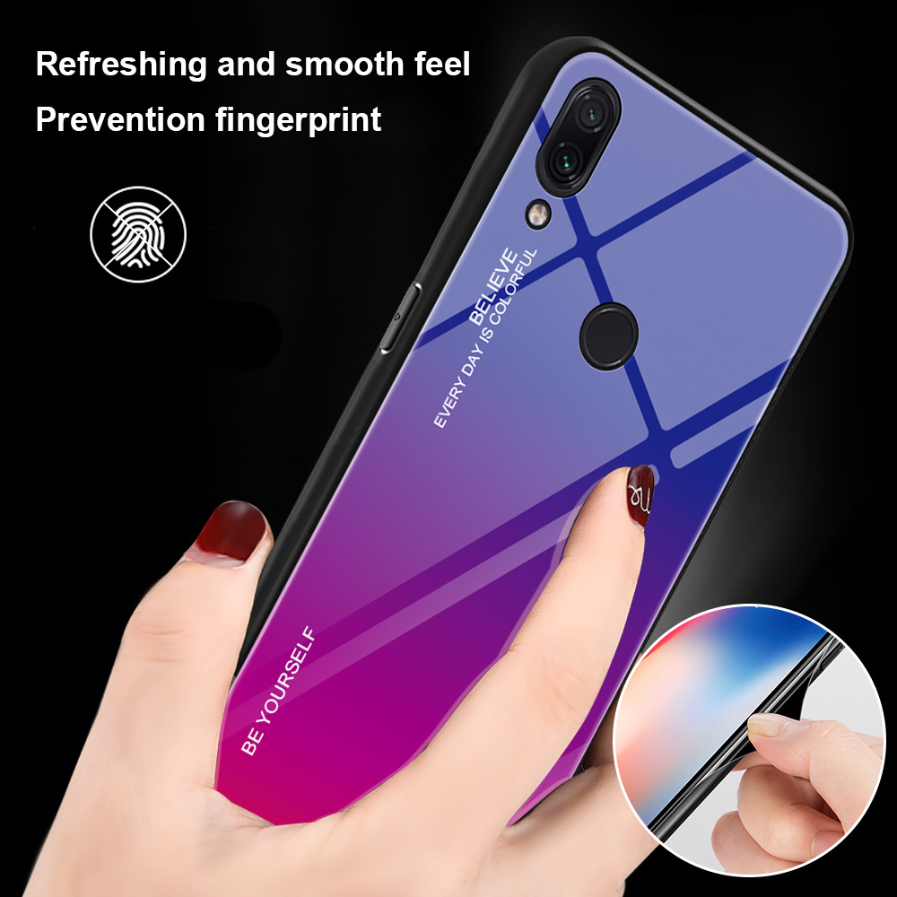 Gradient Tempered Glass Case For Xiaomi Redmi 7 Note 7 5 6 Pro Cover Protective Fundas For Redmi 7 6 5 Plus Note 7Pro Coque in Fitted Cases from Cellphones Telecommunications