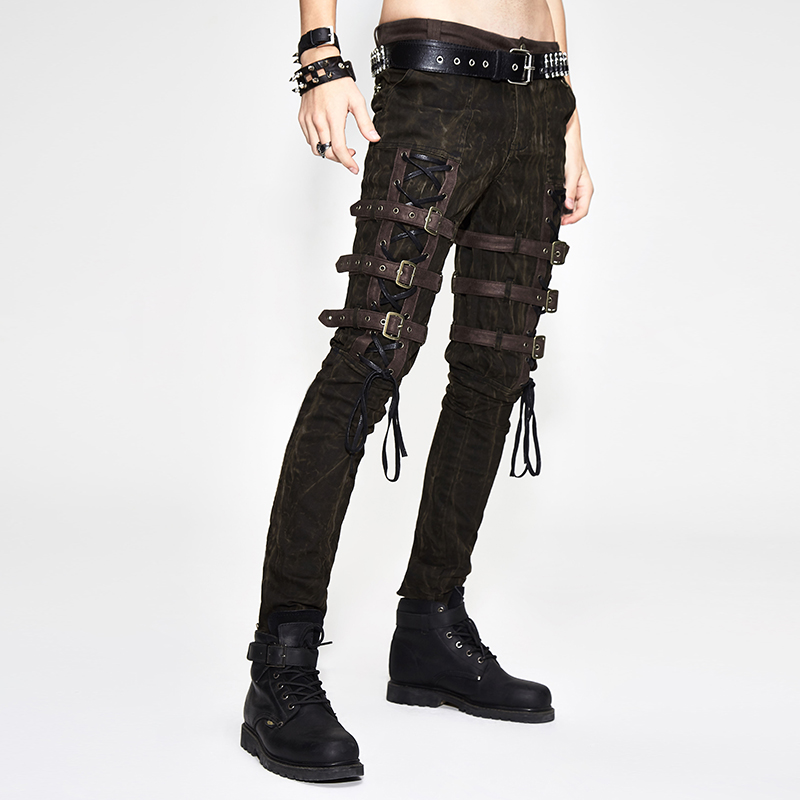 2019 Steam Punk Men's Thigh Leather Buckle Slimming Trousers Gothic Brown Casual Pants Full Length Pencil Pants