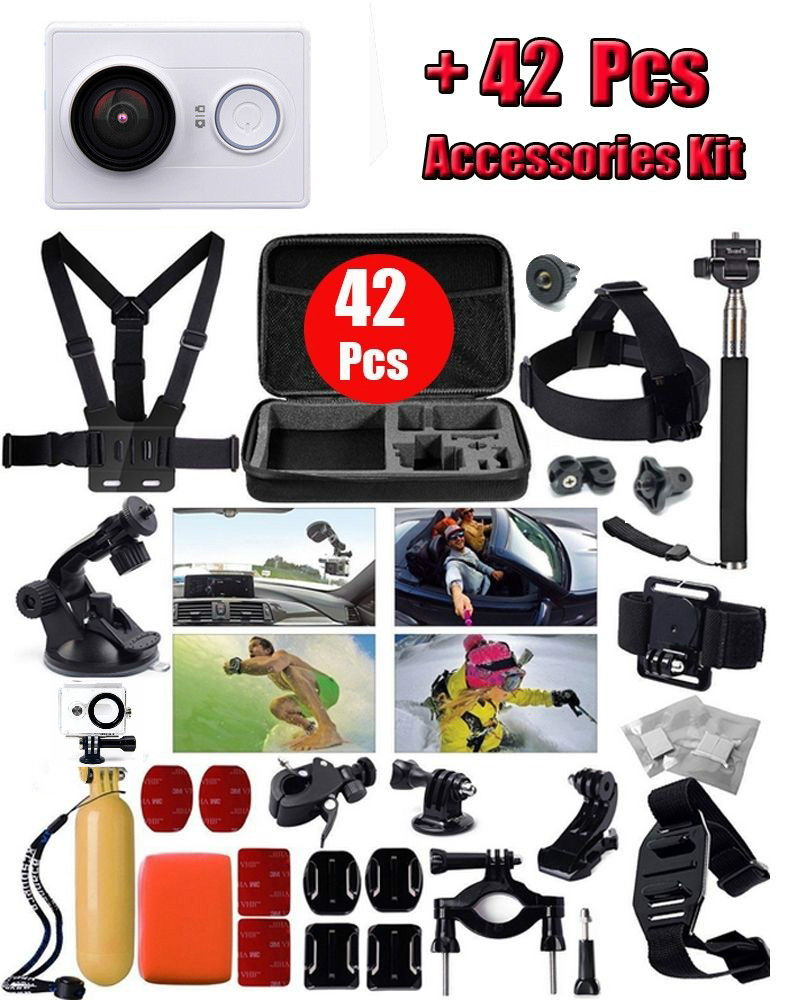 Original Xiaomi Yi 1080P Ambarella A7 16MP WIFI Sports Mini DV Action Camera +42 in 1 Waterproof Belt Accessories kit