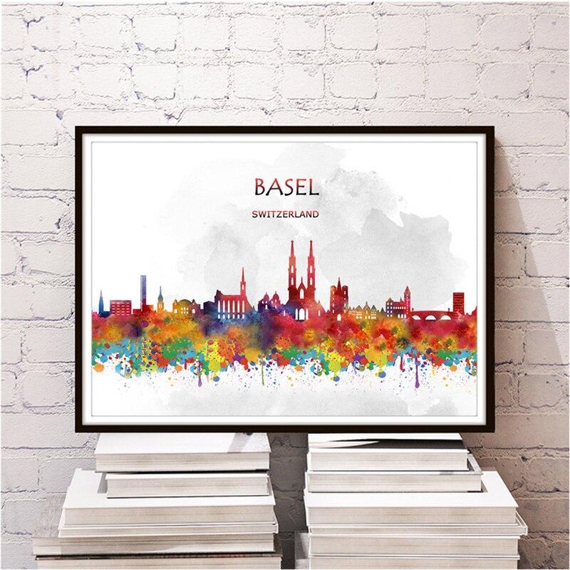 Freies Schiff World City BASEL Wandaufkleber Kraft Paper Home Fr Wohnzimmer Schlafzimmer Cafe Retro Poster Kunstdruck