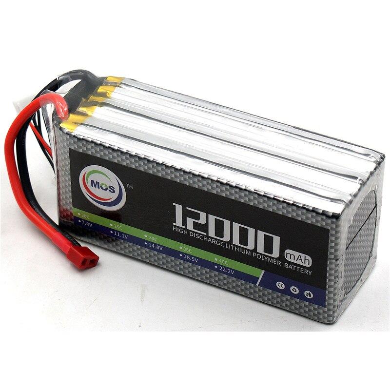 MOS RC LiPo Batteria 22.2 v 12000 mah 25C 6 s per RC Aereo Drone Quadrotor Auto Barca 6 s li-Po Batterie Spedizione gratuita