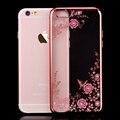 FLOVEME Флоры Diamond Silicone Case for iPhone 7 6 6 S для iPhone 7 6 6 S Plus Chic Цветок Bling Мягкий ТПУ Очистить Память Телефона Задняя крышка