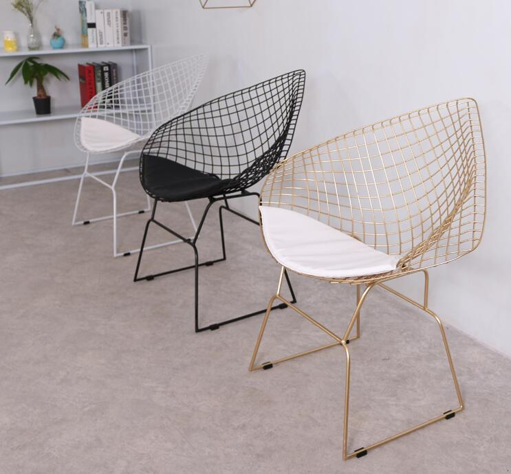 Nordic Creative Hollow Barbed Wire Chair Iron Art Modern Simple Personality Dining Chair Leisure Dining Room Golden Chair.