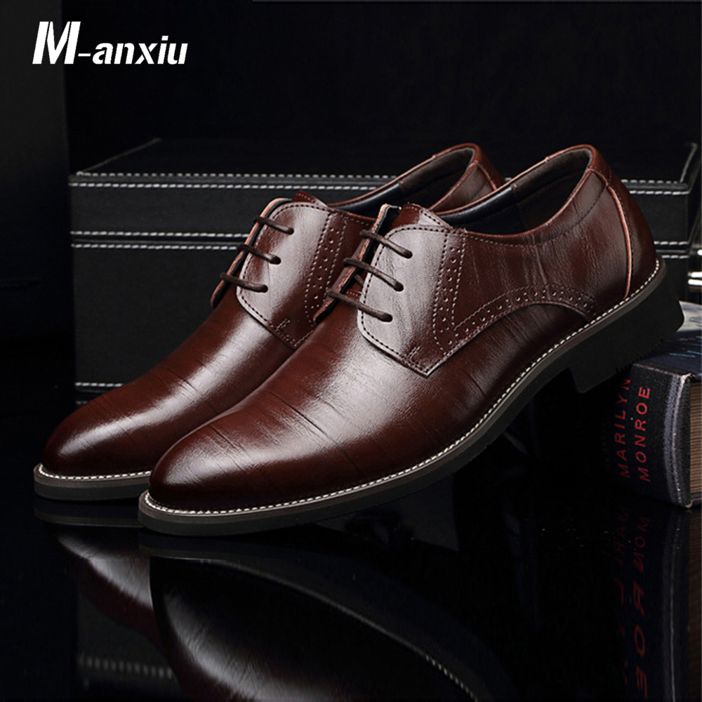 M anxiu PU Leather Derbies Shoes Men Formal Business Shoes Pointed Toe Plus Size Flat Shoes High Quality Low Price Dropshipping