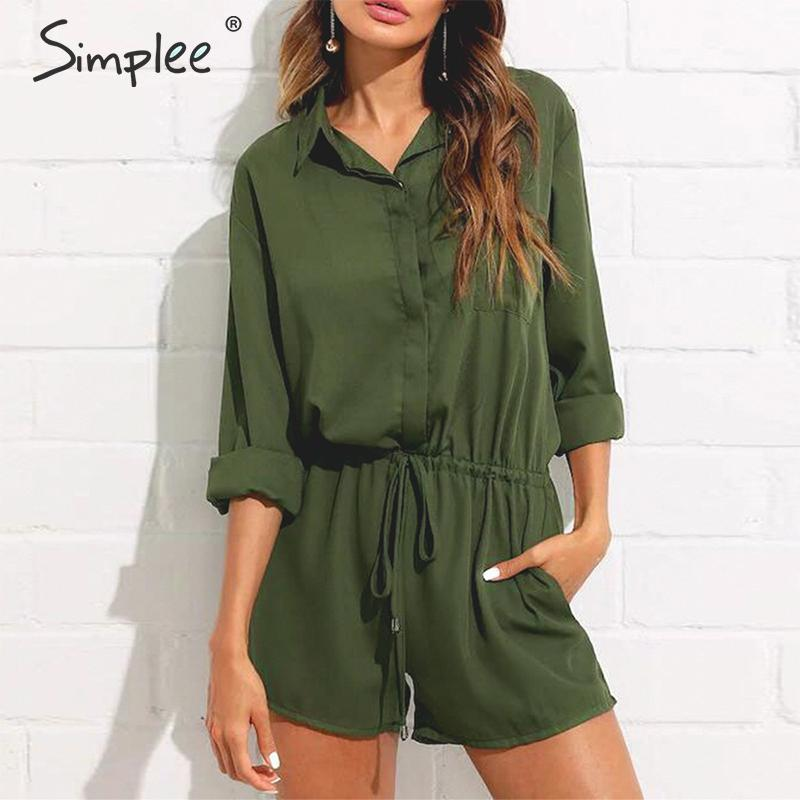 Simplee Solid chiffon women   jumpsuit   romper Elastic high waist lace up female playsuit Office ladies long sleeve short overalls