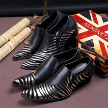 Mens genuine leather classic shoes striped spiked loafers black wedding dress brogue flats slip on shoe lasts