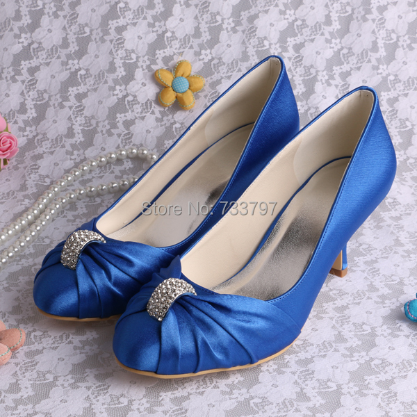 (20 Colors) Custom Color and Heel Blue Satin Wedding Shoes Med Heel 6.5CM Large Size