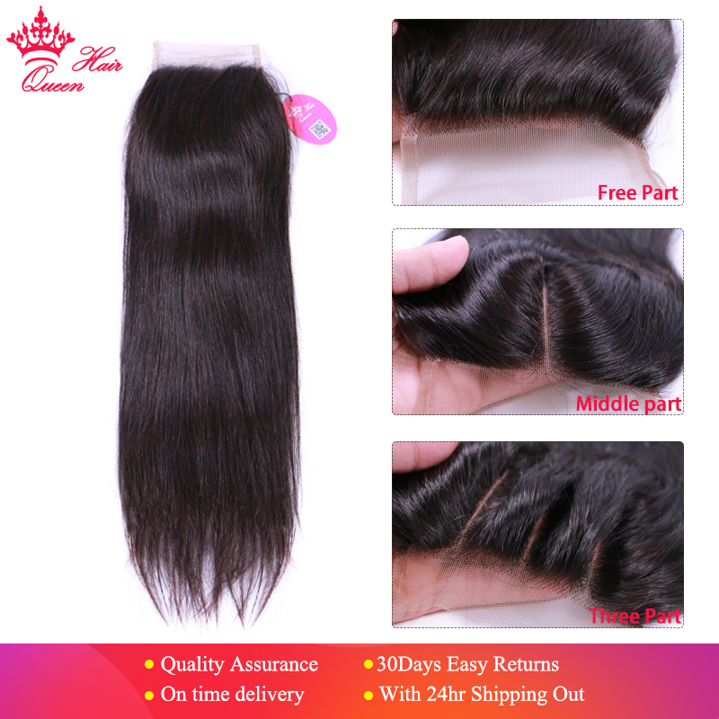 Queen Hair Products Brazilian Virgin Hair Straight Top Swiss Lace Closure Natural Color 10 to 20