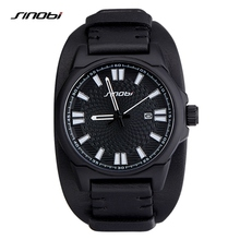 SINOBI Brand Mens Watches Top Brand Luxury Leather Mens Watches Military Army Calendar Outdoor Watch Male Waterproof Relogio