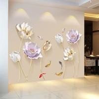 النمط الصيني زهرة ثلاثية الأبعاد خلفية ملصقات جدار غرفة المعيشة غرفة نوم الحمام ديكور المنزل الديكور ملصق-في ملصقات الحائط من المنزل والحديقة على