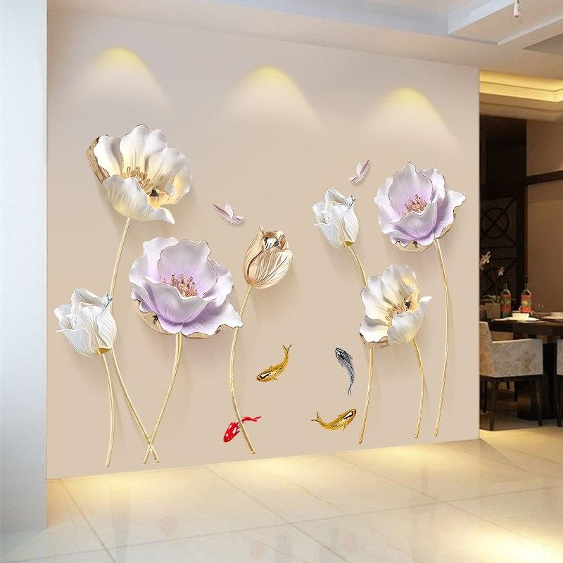 Chinesischen Stil Blume 3D Wallpaper Wandaufkleber Wohnzimmer Schlafzimmer Badezimmer Dekoration Poster