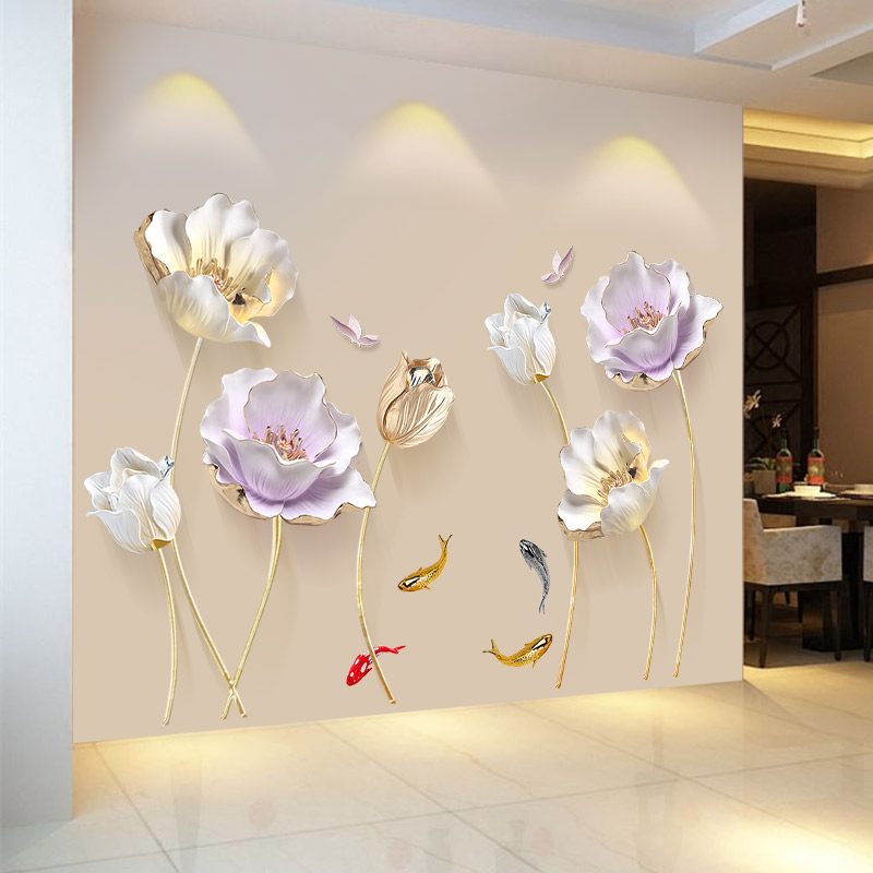 Stile cinese Del Fiore 3D Adesivi Murali Carta Da Parati Soggiorno camera  Da Letto Bagno Home Decor Decoration Poster