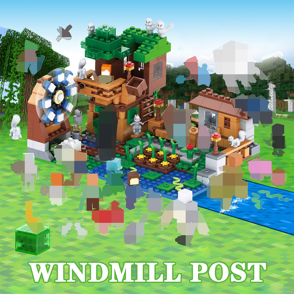 Supply 3 In 1 My World Series Luxury Tree House Compatible Legoingly Minecraft Village Farm Building Blocks Windmill Brick Kids Toy Model Building