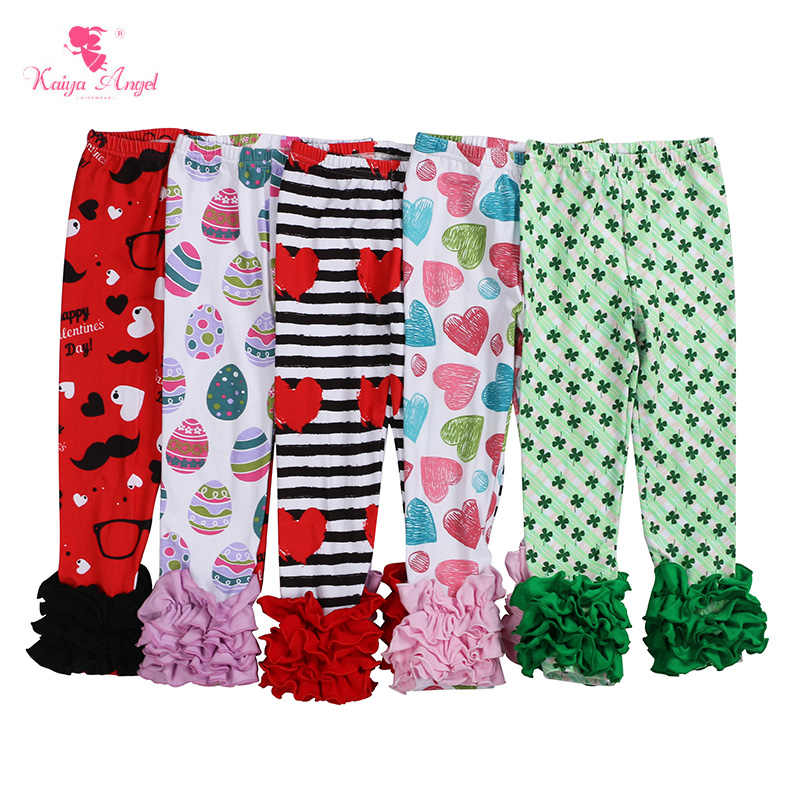 8455bab80 Kaiya Angel Valentine's Day Icing Pants Easter children clothing Ruffles  Leggings For Girls Clover Clothes Factory