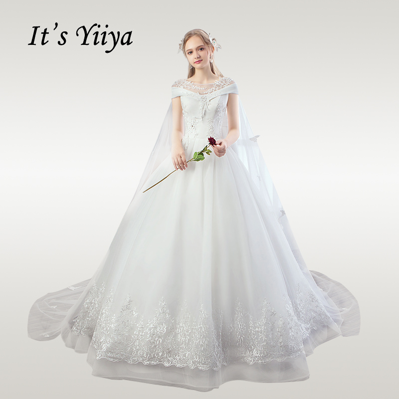 It's YiiYa Wedding Dress 2019 O-neck Elegant White Floor Length Wedding Gowns Lace Crystal Plus Size Train Robe De Mariee HS740