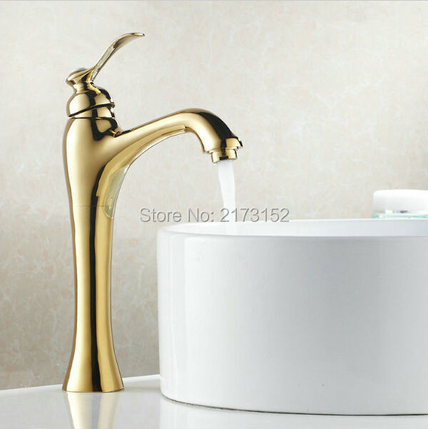 Luxury Gold Plated Bathroom Faucet Tall Moden Hot & Cold Basin Sink ...