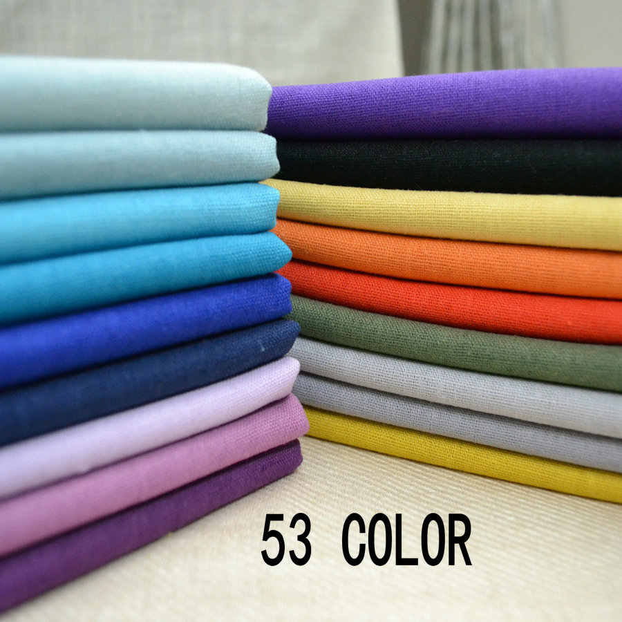 53color Solid Color Nature Linen Cotton Fabric Tablecloth Cushion Cover Fabric Upholstery Material Cotton Linen L1H08