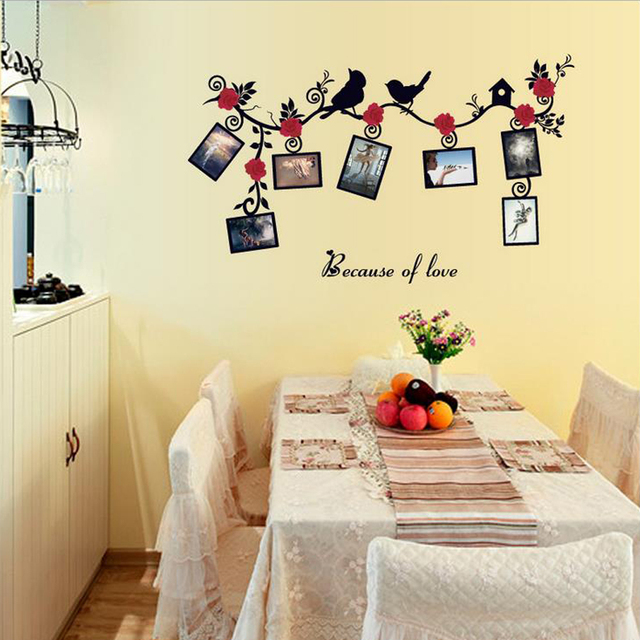 Flowers Birds Wall Sticker Decal Photo Frames Home Paper Art Picture ...