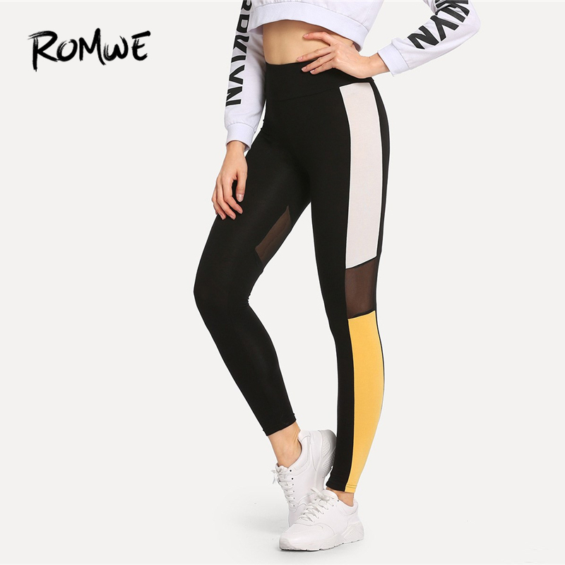 ROMWE Mesh Contrast Color Block   Leggings   Women Casual Trending Products 2019 Autumn Fashion Sporty Clothes Female   Leggings   Pants