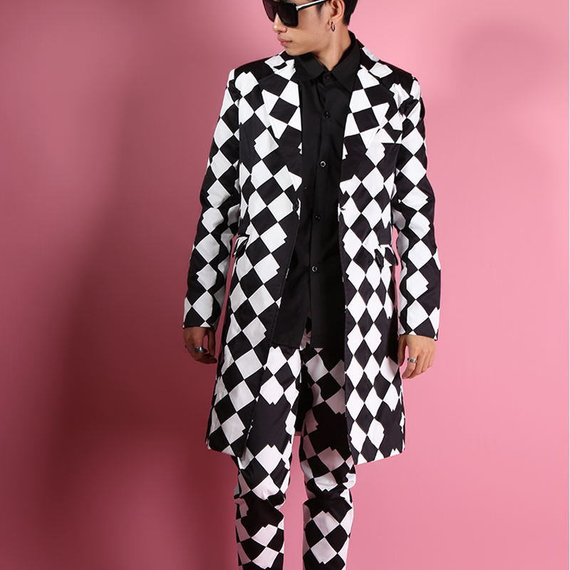 Men Suit Large Rhombus Lattice Geometric Vision Long Suit Tide Korean Version Of The Slim Long Suit Dress Men Wedding Suits 2020