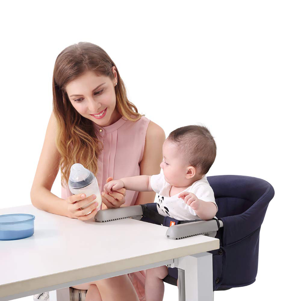 Portable Foldable Baby Highchair Safety Belt Infant Feeding Chair Booster Seat Harness Dinner Lunch Washable Hook-on Chair