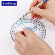 1PC Circular 10cm Transparent Plastic 360 Degree Pointer Protractor Ruler Angle For School Office Drafting Supplies Protractor(China)