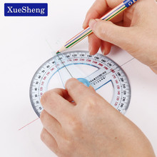 1PC Circular 10cm Transparent Plastic 360 Degree Pointer Protractor Ruler Angle For School Office Drafting Supplies Protractor